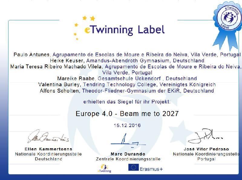 eTwinnig-Projekt Sieger im Europäischen Wettbewerb